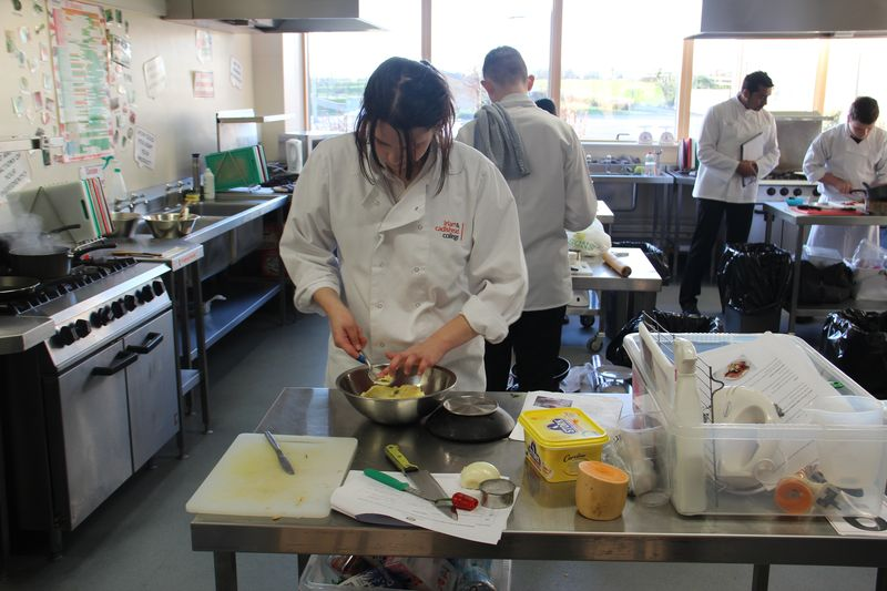 Prepping the food in Radclyffe School's super kitchens
