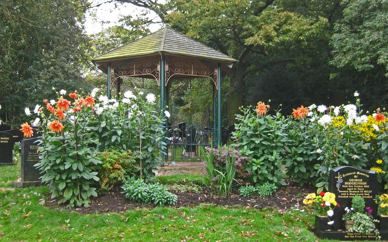Gazebo & dahlias