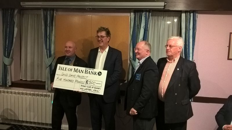 Simon Maddrell  recieves donation for Sand Dams Projects  - 22 March 2016
