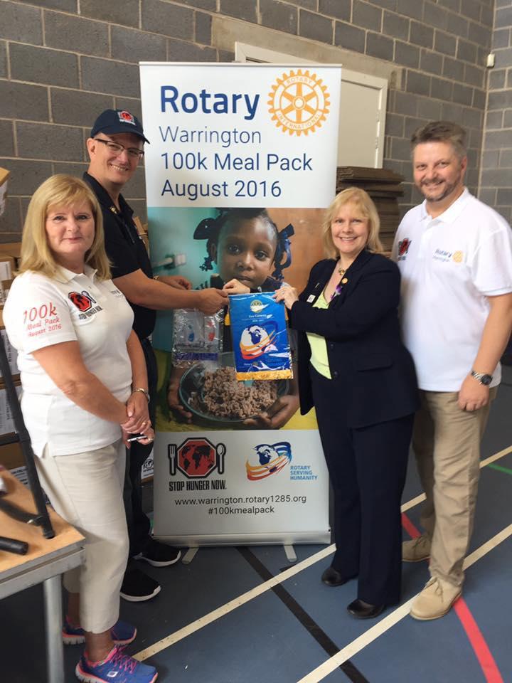 RIBI President Eve Conway at Warrington Rotary 100kmealpack