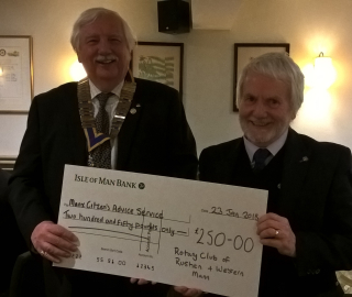 Rotary Club of Rushen & Western Mann presentation to Manx Citizen Advice Service Southern Branch
