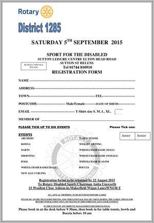 Disabled Sports Registration Form 2015