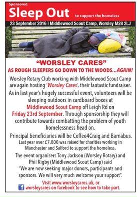 Worsley Rotary Cares Sleepout
