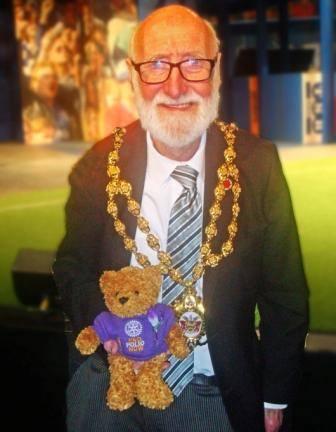 Mayor with Purple4Polio Fred Bear