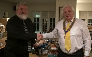 Neal Mellon - Isle of Man Foodbank Receives Donations from Paul Winnell President of Rotary Club of Rushen & Western Mann - 24 April 2018