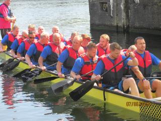 Runcorn Rotary Dragon Boat in   action