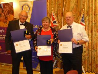 Three new Paul Harris Fellows at   Runcorn; l to r Eddie Gregory  Karen Tonge MBE and Derek Pearson